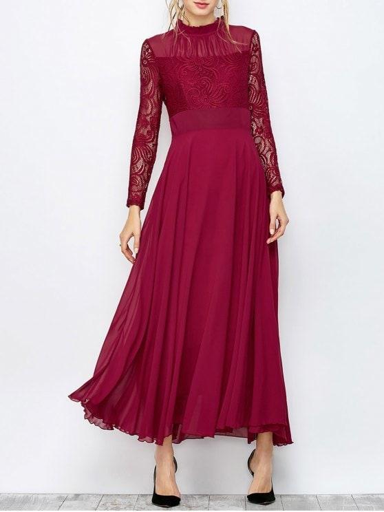 فستان مخمل عنابي