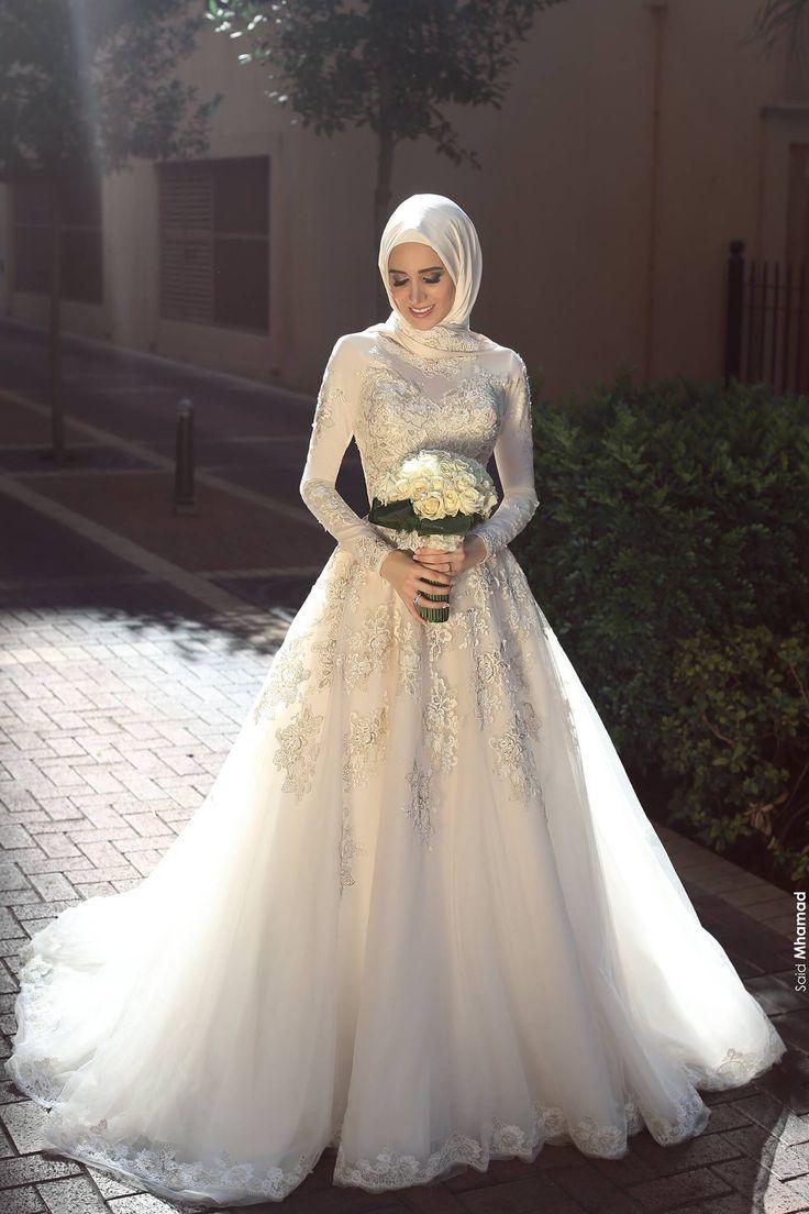 صورة صور فساتين زفاف محجبات , اجمل فساتين ليله العمر للمحجبات