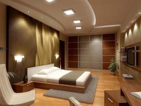 صورة غرف نوم بني فاتح , احدث ديكورات بنيه لغرف النوم