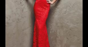 صورة فستان احمر دانتل , جاذبية الفستان الاحمر