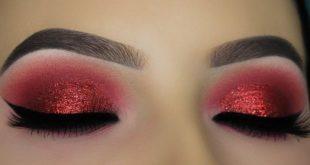 صور مكياج عيون احمر , تالقي بمكياج عيون رائع باللون الاحمر
