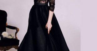 صورة فستان اسود ناعم , النعومه والانوثه فى اجمل موديلات فساتين