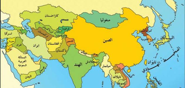 صور خريطة دول اسيا , معلومات عن قارة اسيا