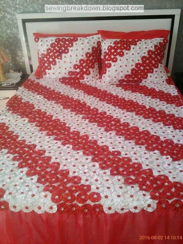 صورة طريقة عمل مفرش السرير بالصور , تعلمي صنع مفرش سرير رائع