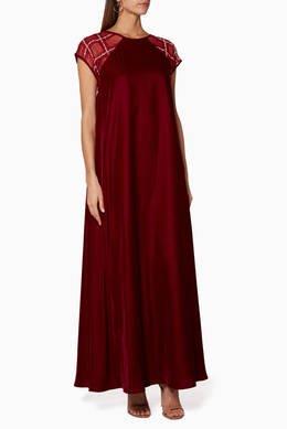 صورة فستان مخمل عنابي , فساتين مبهره تجذب انتباه الجميع