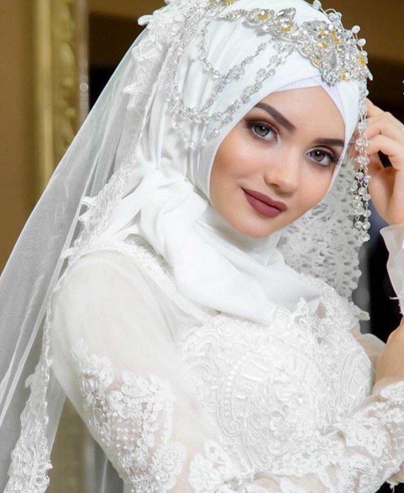 صورة لم اتوقع جمال لفه الطرحه للوجه المدور , لفات طرح زفاف للوجه المدور